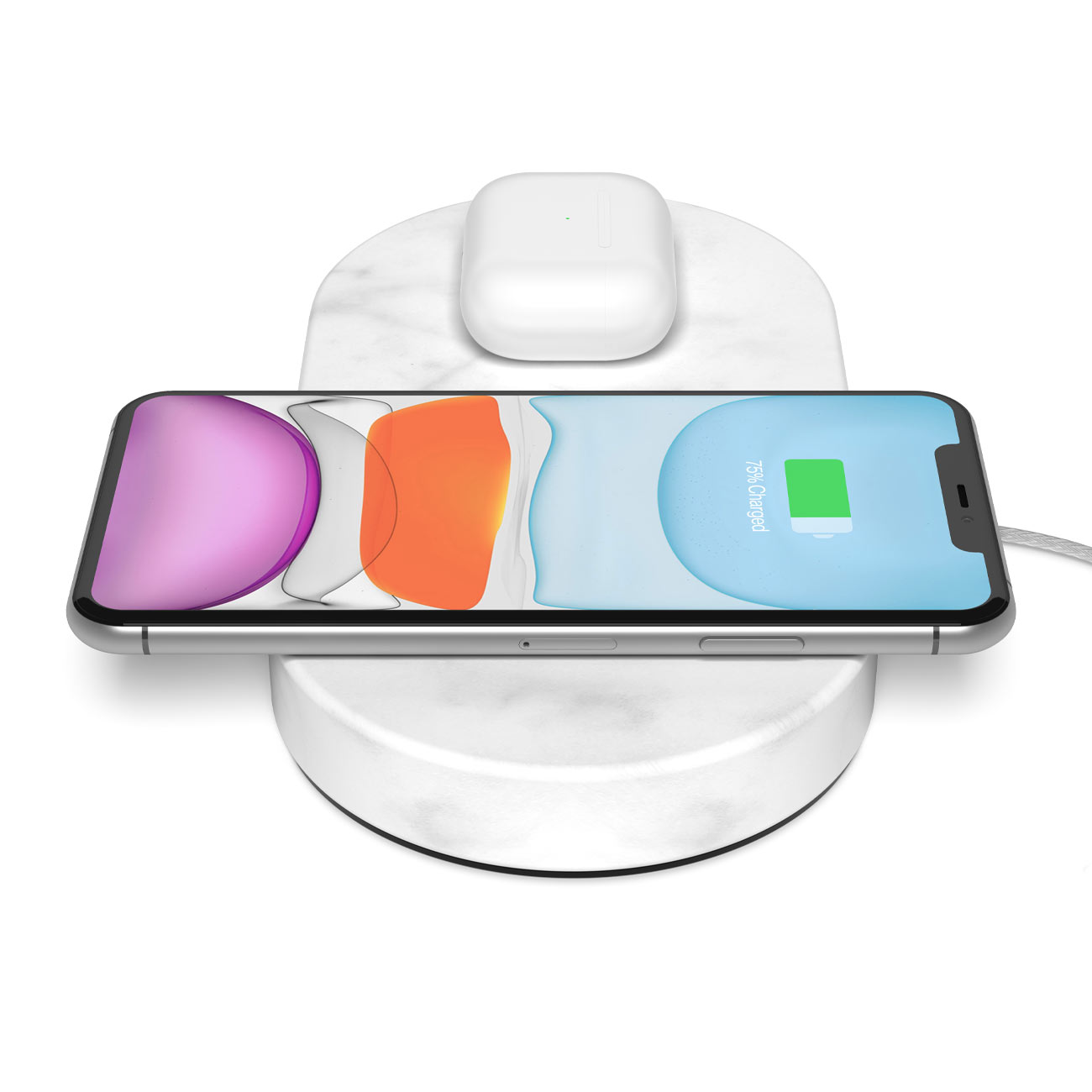 Wireless Charging Dual Stones White Marble - Eggtronic